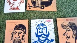 Linoldruck-Postkarten